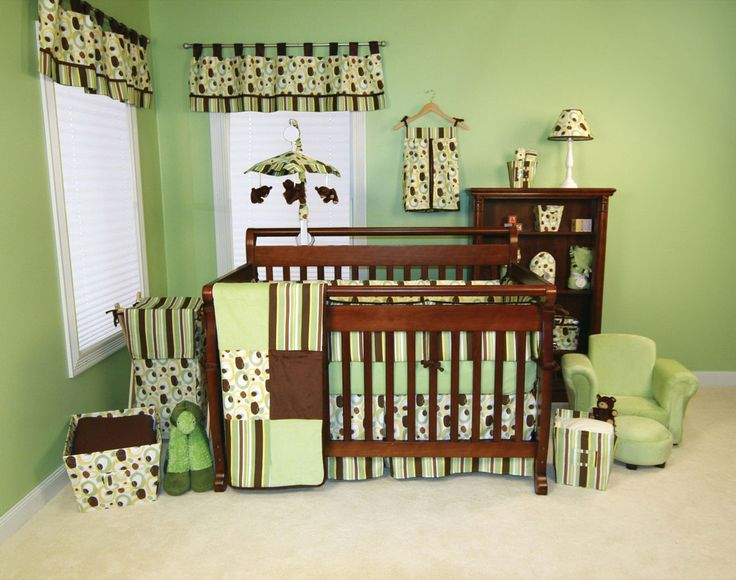 Baby Nursery. Minimalist Design Of Green Wall Baby Nursery With Set Wooden  Furniture On The