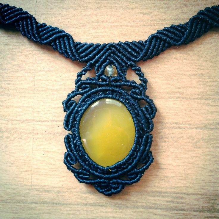 Macrame Necklace with Yellow Onyx stone cabochon created by Nana Hachi Kyu Jewellery