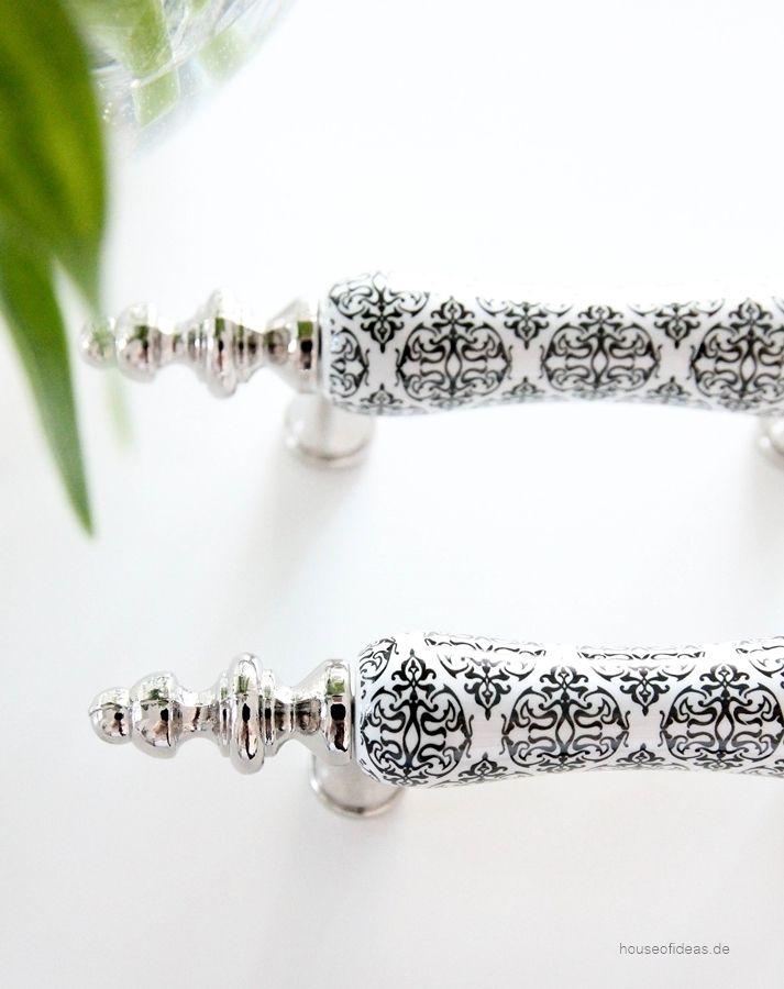 Möbelgriff Porzellan schwarz-weiß-silber - HOUSE of IDEAS Orientalische Dekorationsartikel und Bunzlauer Keramik