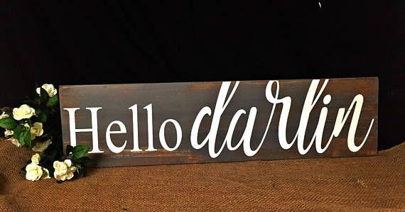 Wall Art//Conway Twitty// Hello Darlin Sign//Bedroom Decor//
