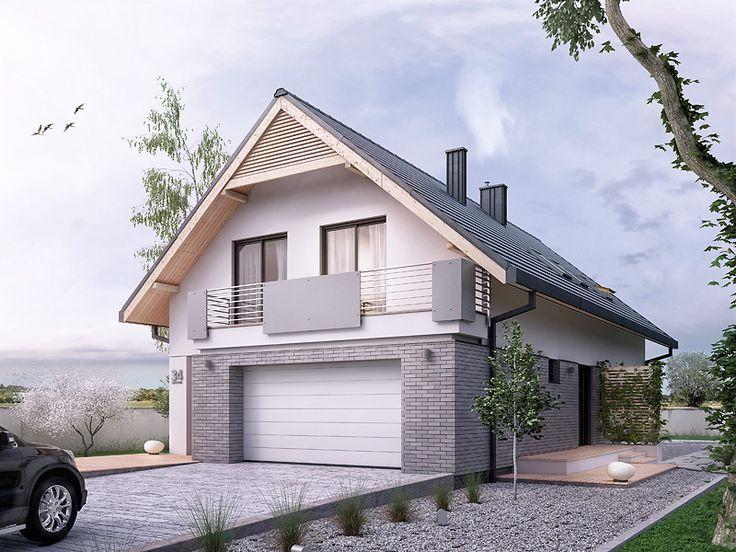 Projekt domu na wąską działkę Amarylis 3 (152,6 m2). Pełna prezentacja projektu znajduje się na stronie: https://www.domywstylu.pl/projekt-domu-amarylis_3.php.  #amarylis 3 #projekty #projekt #gotowe #typowe #domy #domywstylu #mtmstyl #home #houses #architektura #interiors #insides #wnętrza #aranżacje