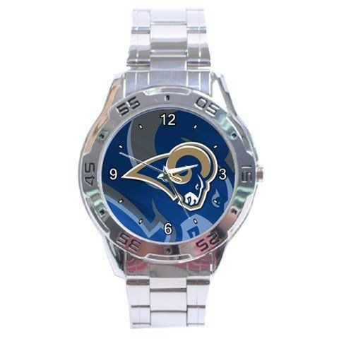 St Louis Rams Graphic Logo Stainless Steel Analogue Men's Watch by Auto. $15.50. This great looking men's watch is designed for those who like the convenience of formal and casual use all rolled into one. Its cosmopolitan style gives it fashionable and durable look along with its shiny stainless steel wristband.   Shipping Information :      *Item will be shipped within 3 days after recieved payment.        *Item will be shipped from Hong Kong. Shipping takes abo...