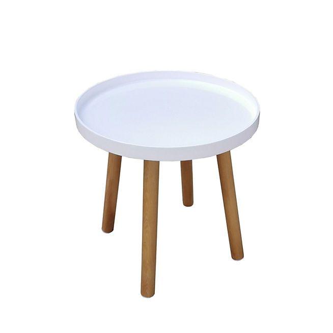 Trap Bout de canapé style scandinave au coloris blanc laqué et pieds en pin