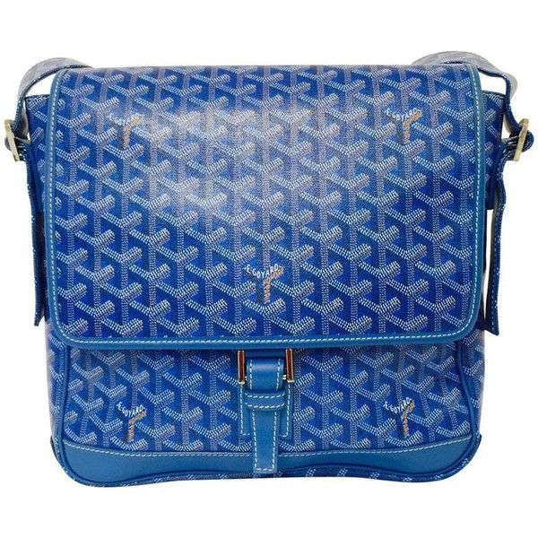 Preowned Goyard Blue Goyardine Urbain Messenger Cross Body Shoulder... ($1,750) ❤ liked on Polyvore featuring bags, handbags, shoulder bags, blue, blue crossbody handbag, blue crossbody, blue handbags, blue shoulder bag and shoulder strap handbags
