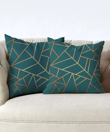 Look at this #zulilyfind! Elisabeth Fredriksson Copper & Teal Pillow - Set of Two #zulilyfinds