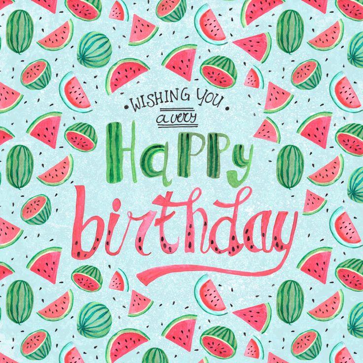 Een trendy verjaardagskaart met allemaal watermeloenen, verkrijgbaar bij #kaartje2go voor €1,99