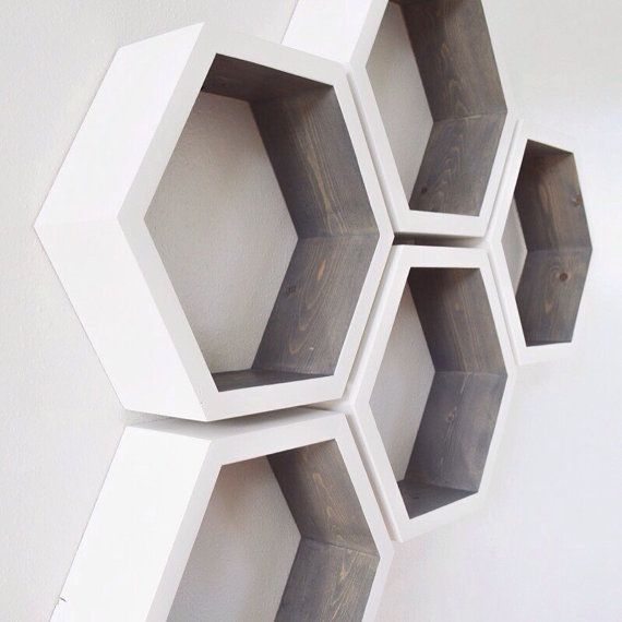 Hexagon Shelves Honeycomb Shelves Geometric by westpinecompany