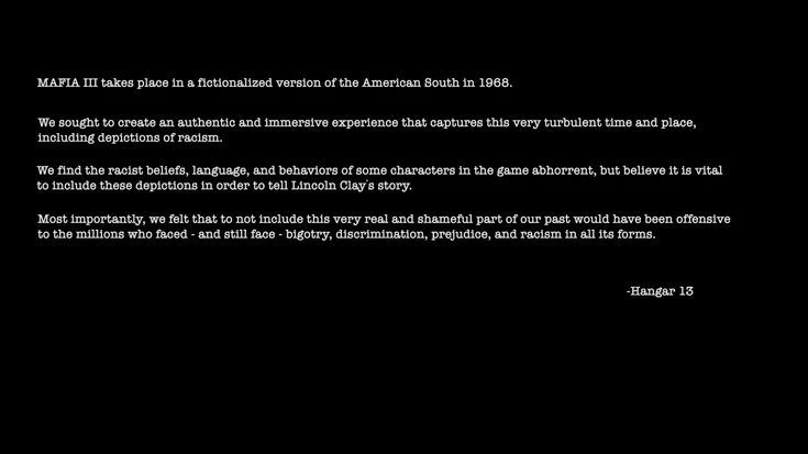Mafia 3's in-game statement on its depiction of racism