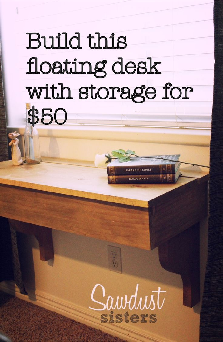 DIY Floating Desk/Vanity with storage. Tutorial by sawdustsisters.com