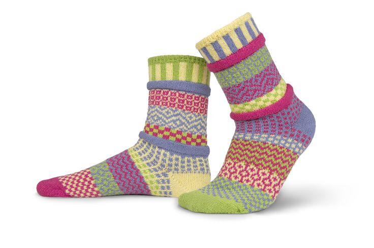 Aster design odd-socks by Solmate. Made from recycled cotton. - Seriously Silly Socks