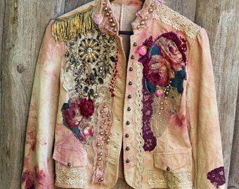 Anna Karenina chaqueta - chaqueta romántica recargada, glamour bohemio, alterado de costura, bordado y detalles de cuentas