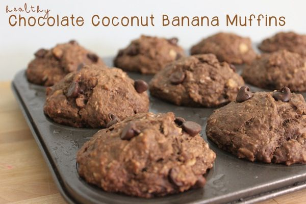 Healthy Chocolate Coconut Banana Muffins - No sugar added to these ...