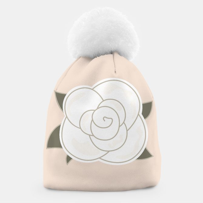 BEANIE WITH WHITE ROSE : BROWN EDITION