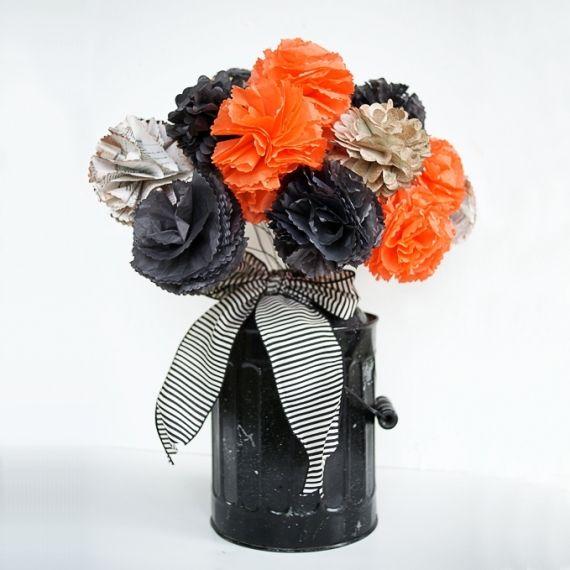 Artesanato Em Madeira De Demolição ~ Ideias para festa de #Halloween vaso com flores de papel DIY Petiscos e decorações para o