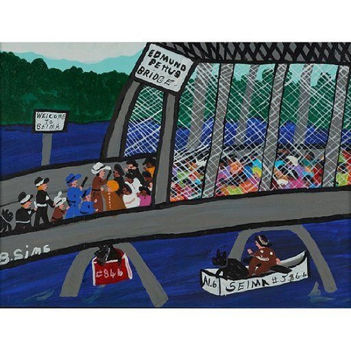 Selma Bridge painting by Bernice Sims, (American, b. 1926),, Lot Number: 1335, Auctioneer: Treadway Toomey Auctions, Auction: Objects Online Auction, Date: October 25th, 2017 PDT Civil Rights painting from Bernice Sims's memories of working in the movement. Selma march. Memory painting. Folk art.