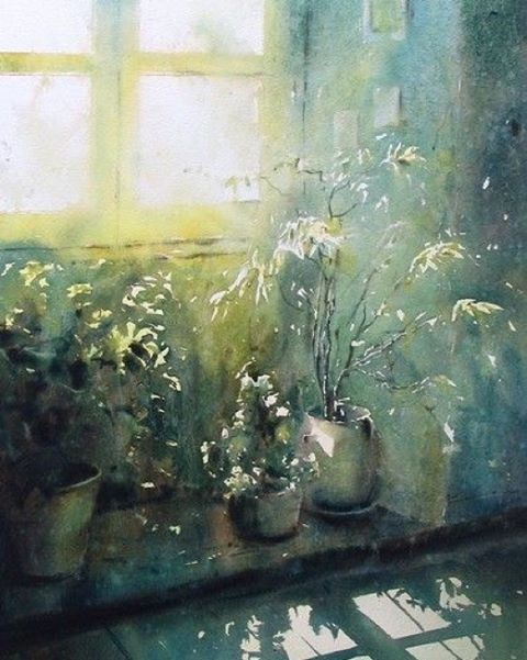 Watercolor by David Chauvin. #watercolor #watercolour #painting #art #light #window #акварель #живопись #искусство #свет