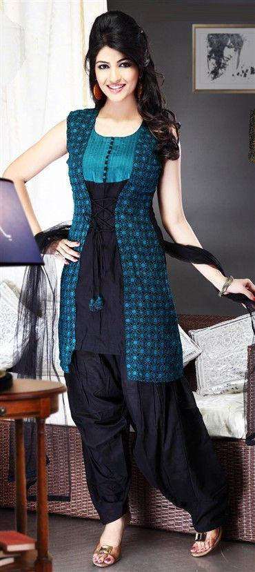 93522: Black and Grey, Blue color family stitched Salwar Kameez.