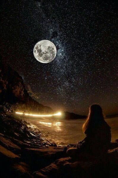Moon watch. Nightlit skies with he moon and the stars in her eyes.#GoodNightGirl. #TheSun,TheMoon&TheStars