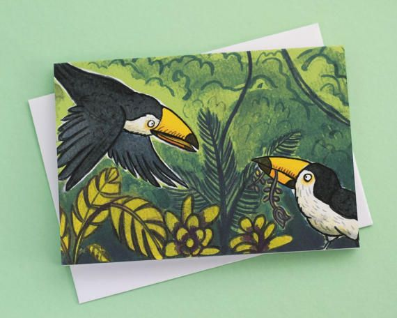 Two Toucans- illustrated greeting card by Emma Scheltema on Etsy