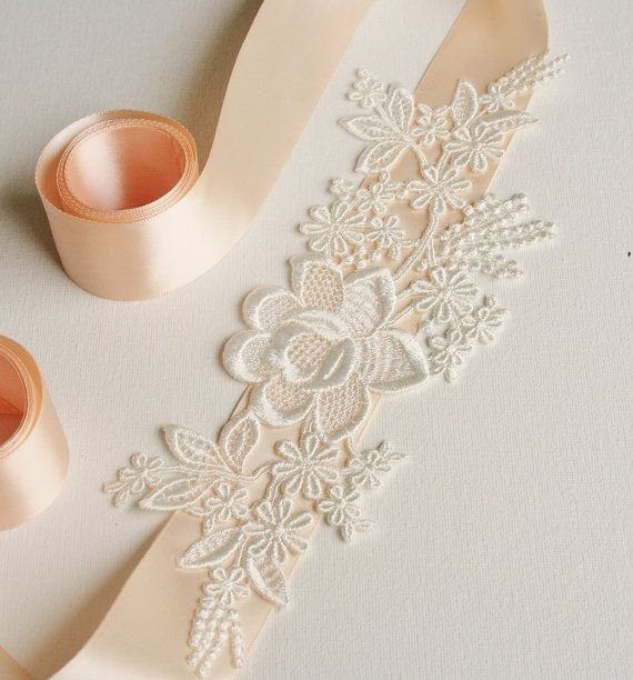 Sash or headpiece Bridal Sash, Lace Bridal Sash, Wedding, Belt, Sash, Blush, White, Champagne, Black, Ivory, Custom Colors. $48.00, via Etsy.