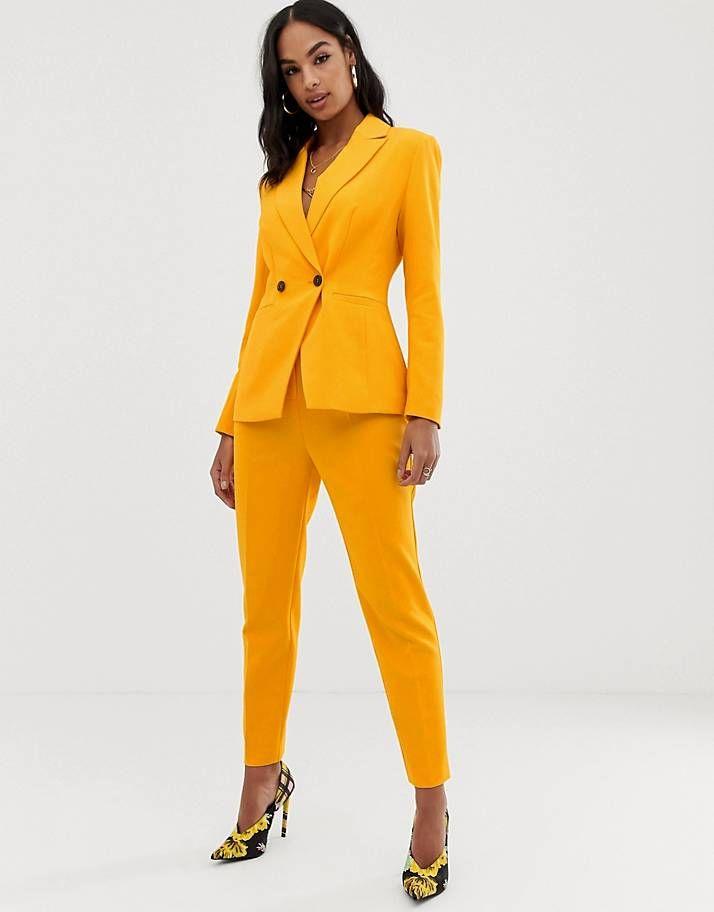 Orange Womens Pants Suit