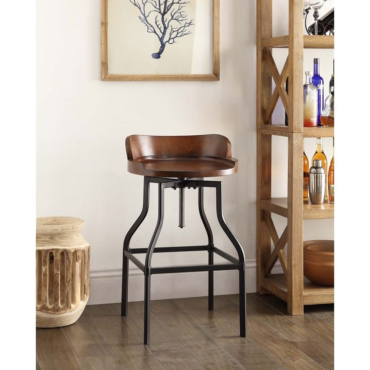 Espen Chestnut/Black Wood/Metal Adjustable Stool
