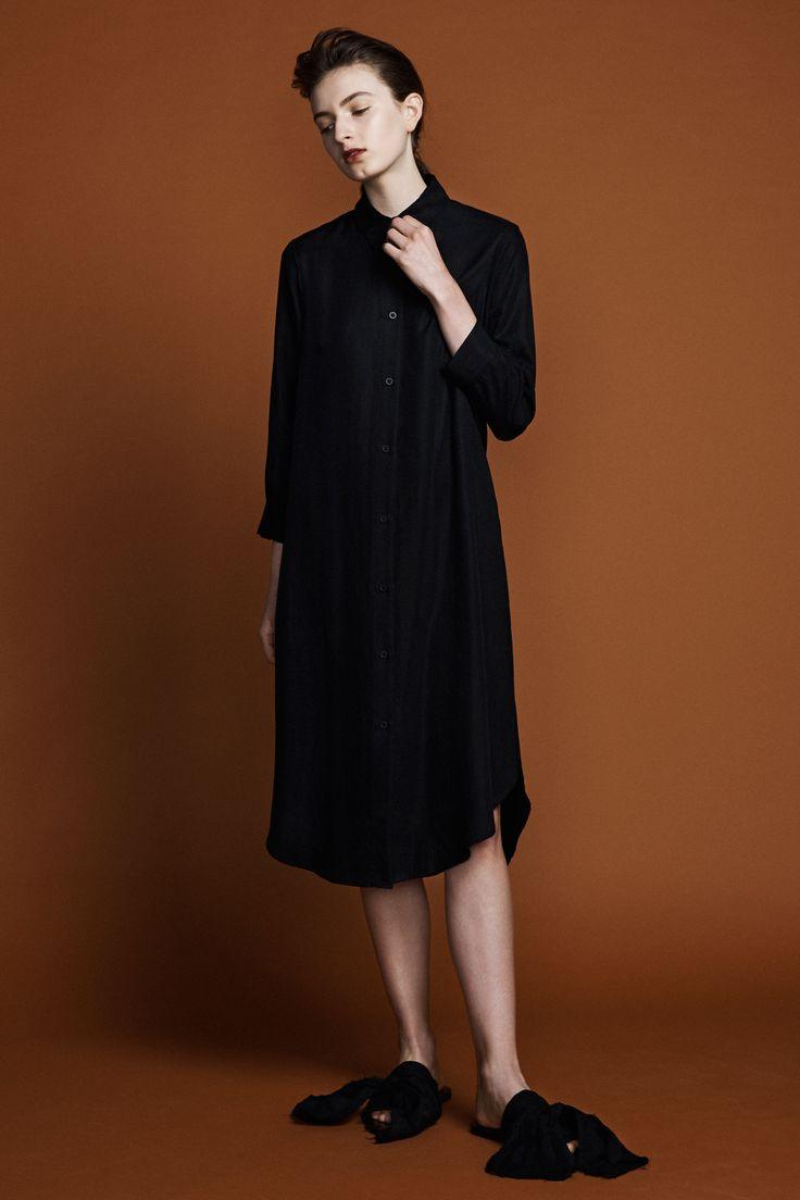 Ranger Shirt Dress - Black tencel