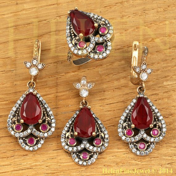 Hurrem Sultan Set Tear Drop Shape Ruby Color by helenfinejewels