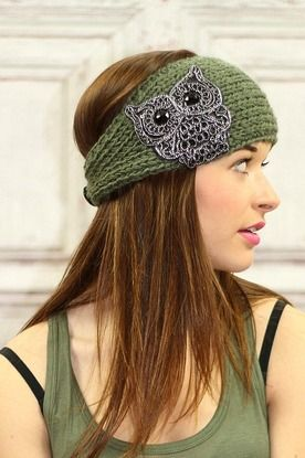 Sequined Owl Olive Knit Headwrap Headband