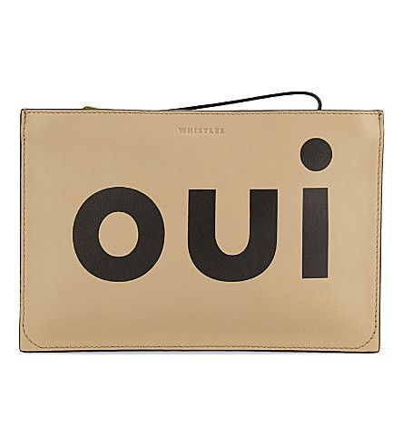 WHISTLES Oui Non Leather Clutch. #whistles #bags #leather #clutch #hand bags #