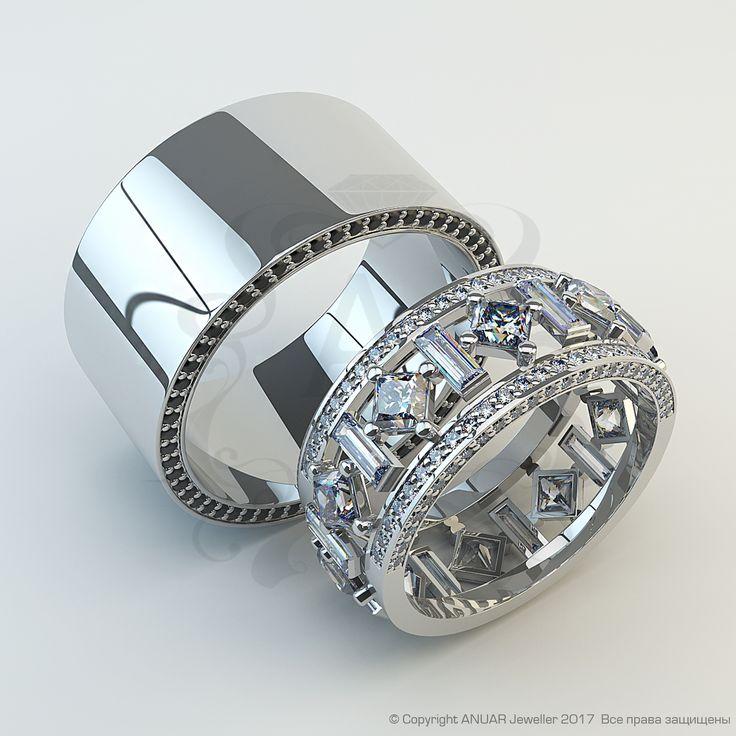 """🤔 А как Вы считаете, почему наша компания называется """"ANUAR Jeweller""""? Ждем Ваших рассуждений прямо под этим постом! ⠀ ⠀ 💍 А сейчас мы представляем Вам эксклюзивный обручальный комплект⠀ ---------⠀ ⠀ 👩 Женское : ⠀ ⠀ 🔱 Металл - белое золото 585 ⠀ ⠀ 💎 Вставка - бриллианты огранка принцесса: 10шт.-3,0х3,0мм, 1,5ct; огранка багет: 10шт.- 1,5х4,5 0,75ct, бриллианты огранка круг 100шт.-1,25мм 0,9ct. Общий вес бриллиантов: 3,672ct ⠀ 🔺 Вес - 5,2гр ⠀ 〰 Ширина - 9мм ⠀ --------- 👱 Мужское : ⠀ ⠀…"""