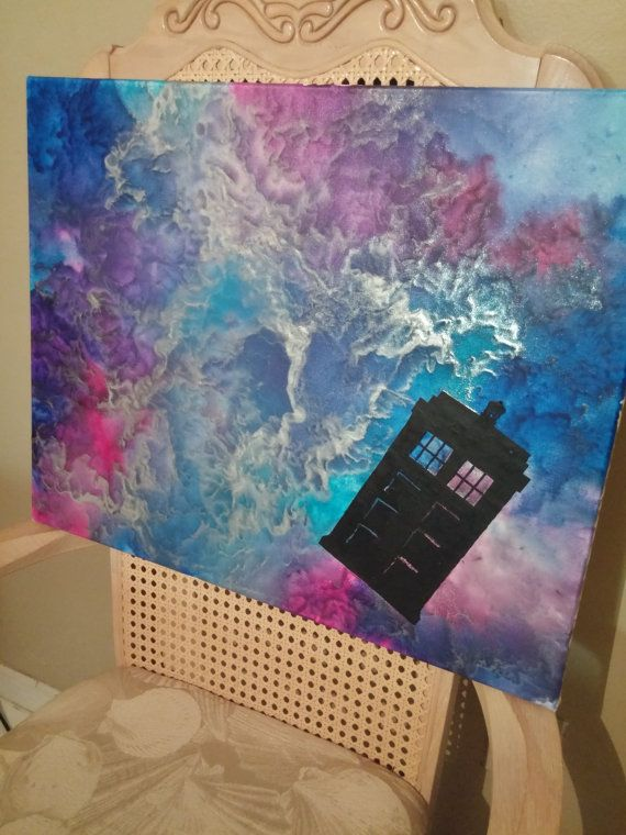 Doctor Who Inspired Melted Crayon Canvas Art by ExplosionsInColor