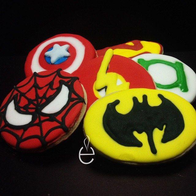 Galletas de SUPERHEROES -  Superhero Cookies with icing  - Batman; Spiderman; Flash; GreenLantern; Capitan America; SuperMan