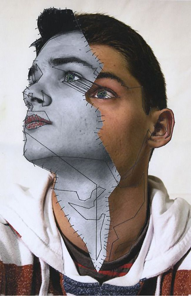 """Embroidered Metropolis 1"" - Manny Robertson {abstract surrealism male face collage portrait}"