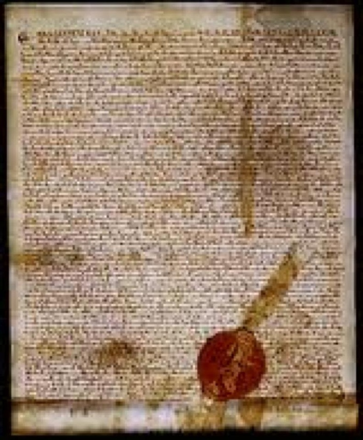 """***TODAY IN HISTORY***  June 15, 1215 Magna Carta Signed.  Following a revolt by the English nobility against his rule, King John puts his royal seal on the Magna Carta, or """"Great Charter."""" The document, essentially a peace treaty between John and his barons, guaranteed that the king would respect feudal rights and privileges, uphold the freedom of the church, and maintain the nation's laws."""