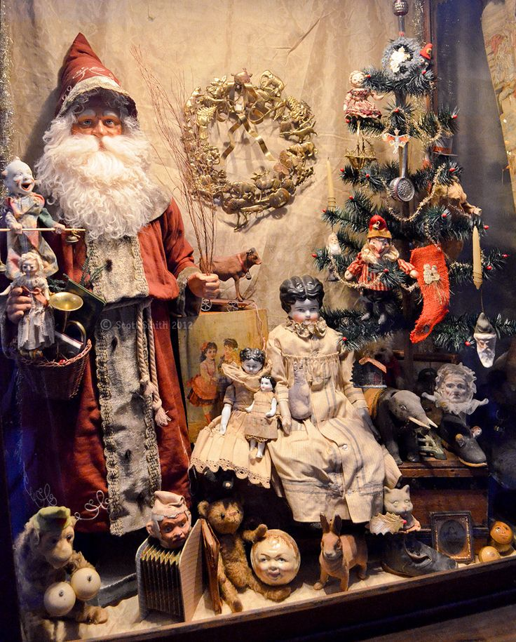 Santa on display with a mix of new and old toys: Vintage Christmas, Window Display, Antiques Christmas, Christmas Display Window, Victorian Christmas, Christmas Window, Stores Window, Merry Christmas, Antiques Toys