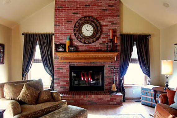 Update a brick fireplace with stain | remodelaholic.com #fireplace #brick #update