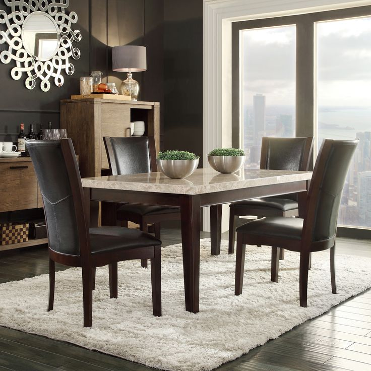 TRIBECCA HOME Sonata Black Brown Marble 5 Piece Dining Set
