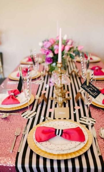 Striped Table Runners. Kate Spade inspired. Fantastic for any wedding, event, or home decor. These lightweight satin table runners shimmer with delight. White s