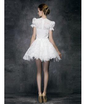 Vestito da Sposa Corto economico online in Pizzo accollato con manica corta