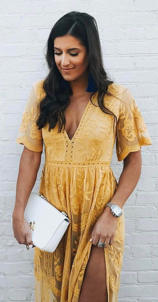 #spring #outfits Yellow Lace V-neck Maxi Dress