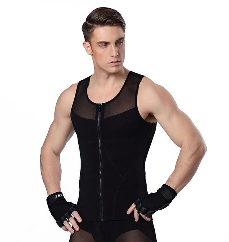 Men Chest Shaper Bodybuilding Slimming Belly Abdomen Tummy Fat Burn Posture Corrector Compression Shirt Tank Top Corset For Male