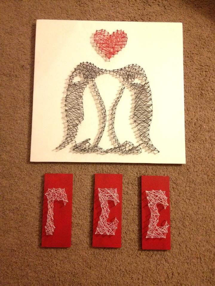 Gamma Sigma Sigma penguin string art, to be hung up later. #crafts #diy