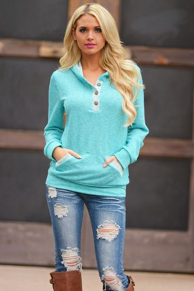 By The Bay Hoodie - Cool Mint from Closet Candy Boutique #fashion #shop