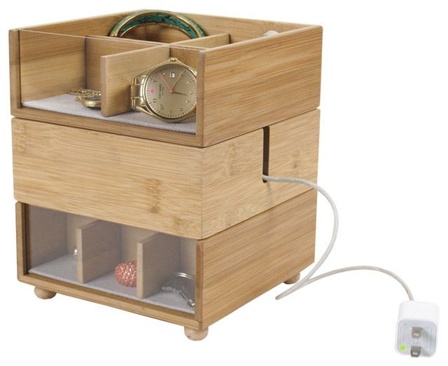 100% Bamboo Stackable Tabletop Valet With Phone Cradle contemporary-dresser-valets-and-organizers