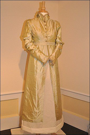 This green silk pelisse robe was worn by Sarah Wiseman of Paglesham at her wedding in 1813: