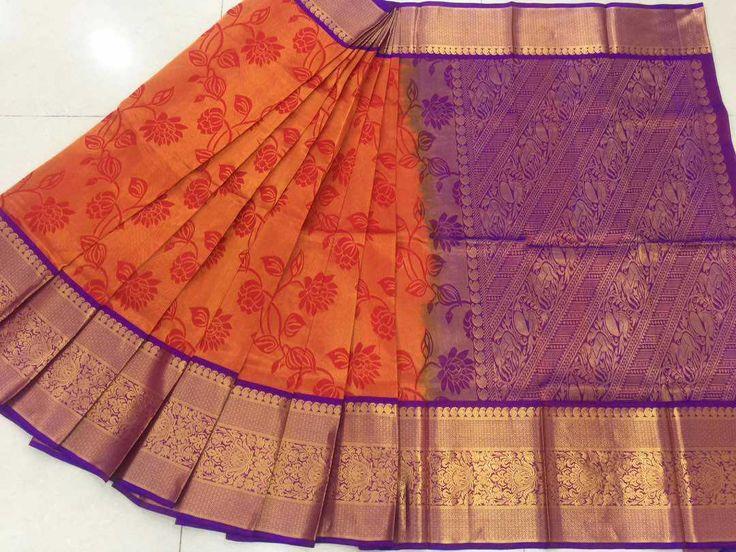 Pure handloom allover 'Gadwal Sarees' with elegant kaanjeevaram borders  Contrast pallu and blouse