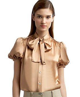 Dolce & Gabbana Charmeuse Bow Blouse eLUXURY - Stylehive #dg