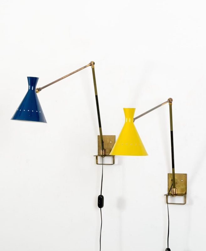Anonymous; Brass and Enameled Aluminum Wall Lights, 1950s.