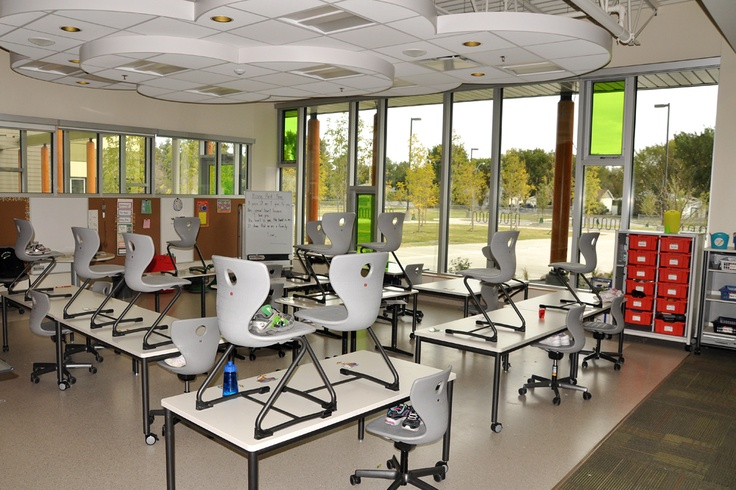 Douglas Park flexible classroom with tables panto move and storage